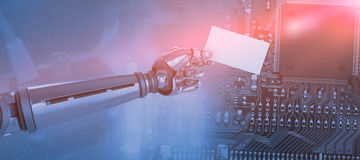 Composite image of graphic image of robotic arm holding placard 3d Royalty Free Stock Photo