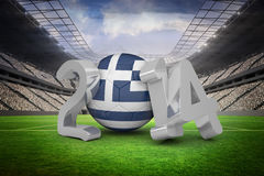 Composite image of greece world cup 2014. Greece world cup 2014 against vast football stadium with fans in white Stock Images