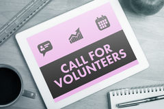 Composite image of green call for volunteers Stock Images