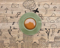 Composite image of green cup of coffee Stock Images