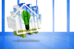 Composite image of green light bulb on abstract screen Royalty Free Stock Photography