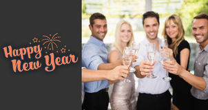 Composite image of group of friends holding glasses of champagne. Group of friends holding glasses of champagne against print royalty free illustration