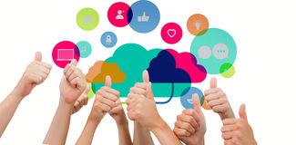 Composite image of group of hands giving thumbs up. Group of hands giving thumbs up against apps and cloud computing concept Royalty Free Stock Images