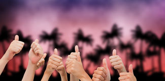 Composite image of group of hands giving thumbs up Stock Photos