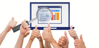 Composite image of group of hands giving thumbs up Royalty Free Stock Photo