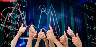 Composite image of group of hands giving thumbs up Stock Images