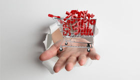 Composite image of hand bursting through paper Stock Images