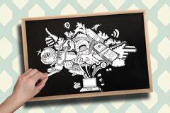 Composite image of hand drawing computing graphic with chalk Royalty Free Stock Photos