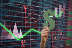 Composite image of hand holding dollar sign. Hand holding dollar sign against red arrow Royalty Free Stock Photography