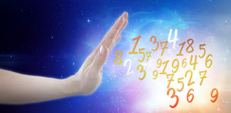 Composite image of hand of man pretending to touch invisible screen Stock Photo