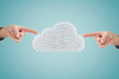 Composite image of hand pointing. Hand pointing against composite image of cloud Royalty Free Stock Photo