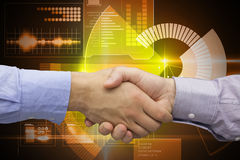 Composite image of hand shake in front of wires Stock Image