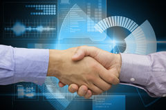 Composite image of hand shake in front of wires Royalty Free Stock Image