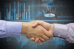Composite image of hand shake in front of wires Royalty Free Stock Images