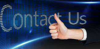 Composite image of hand showing thumbs up Stock Photos