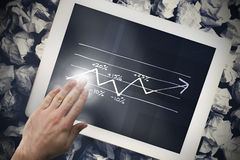 Composite image of hand touching tablet Stock Photos