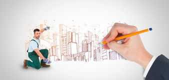 Composite image of hand writing with a pencil Royalty Free Stock Photography