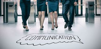 Composite image of handdrawn communication. Handdrawn communication  against businesspeople walking in office Royalty Free Stock Photo
