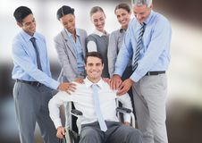 Composite image with handicap businassman. Digital composite of Composite image with handicap businassman Royalty Free Stock Photography