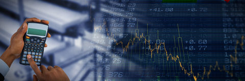 Composite image of hands of businessman using calculator Stock Photos