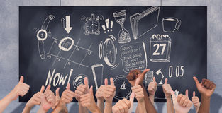 Composite image of hands giving thumbs up Stock Images