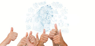 Composite image of hands giving thumbs up. Hands giving thumbs up against business graphics Stock Photography