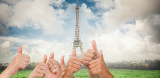 Composite image of hands giving thumbs up Royalty Free Stock Images