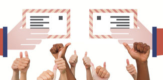 Composite image of hands giving thumbs up Stock Photos