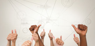 Composite image of hands giving thumbs up Royalty Free Stock Photos