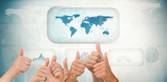 Composite image of hands giving thumbs up Stock Photography