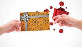 Composite image of hands holding card Royalty Free Stock Photography