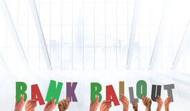 Composite image of hands holding up bank bailout. Hands holding up bank bailout against white room with large window royalty free illustration