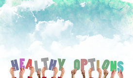 A Composite image of hands holding up healthy options. Hands holding up healthy options against green and blue sky Royalty Free Stock Photos