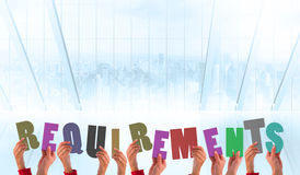Composite image of hands holding up requirements Stock Photo