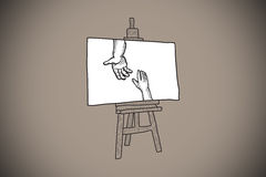Composite image of hands joining doodle on easel. Hands joining doodle on easel against grey background with vignette Stock Images