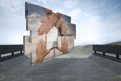 Composite image of hands making a house on abstract screen Stock Image