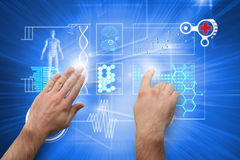 Composite image of hands pointing and presenting Stock Photo
