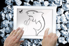 Composite image of hands pointing and presenting on tablet. Composite image of hand touching tablet showing loan shark doodle Stock Photo