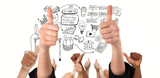 Composite image of hands showing thumbs up. Hands showing thumbs up against brainstorm graphic Royalty Free Stock Photo