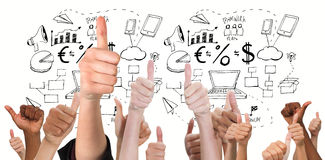 Composite image of hands showing thumbs up. Hands showing thumbs up against brainstorm graphic Royalty Free Stock Image