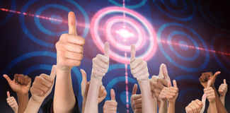 Composite image of hands showing thumbs up Stock Photos