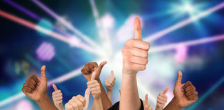 Composite image of hands showing thumbs up Royalty Free Stock Photo