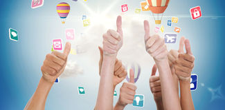 Composite image of hands up and thumbs raised Stock Image