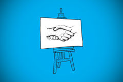 Composite image of handshake doodle on easel Stock Photography