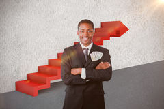 Composite image of handsome businessman with dollars in a pocket 3d Royalty Free Stock Images