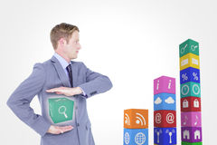 Composite image of handsome businessman gesturing with hands Stock Photography