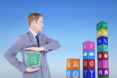Composite image of handsome businessman gesturing with hands Royalty Free Stock Photography