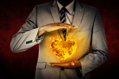 Composite image of handsome businessman gesturing with hands Stock Images