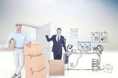 Composite image of handsome delivery man leaning on stacked cardboard boxes Royalty Free Stock Photos