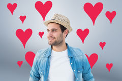Composite image of handsome hipster wearing a trilby Royalty Free Stock Photo